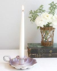 Antique French Lavender Purple Enameled Bougeoir Candleholder