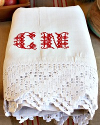 Antique French White Linen Sheet Red Monogram