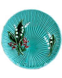 1920's Turquoise Villeroy & Boch Lily of the Valley Majolica Platter