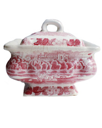 Very Shabby Antique Ironstone Red & White Sauce Tureen