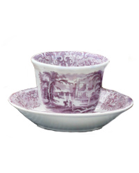 Antique Staffordshire Purple Transfer Tea Bowl and Saucer