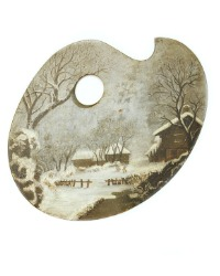 Antique Painted Painter's Palette Winter Scene