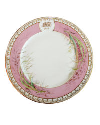 Antique Hand Painted Pink and Gilt Monogrammed Porcelain de Paris Charger