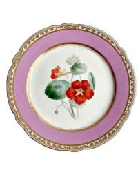 19th Century Old Paris Porcelain Pink Hand Painted Floral Plate C