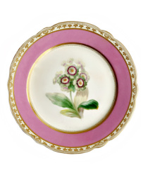 19th Century Old Paris Porcelain Pink Hand Painted Floral Plate A