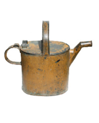 Antique Metal Servant's Hot Water Can Original Paint