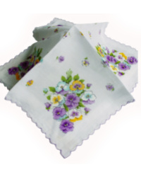 Vintage Swiss Scalloped Handkerchief with Pansies