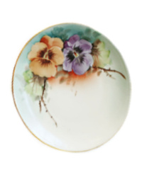 Antique Hand Painted Floral Pansies Porcelain Plate