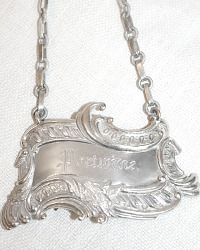 Estate Silver Plate Portwine Decanter Label