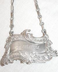 Estate Silver Plate Portwine Decanter Label