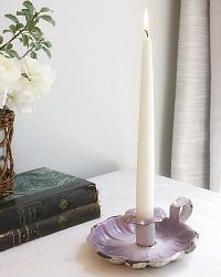 Antique French Lavender Purple Enameled Candle Holder