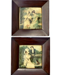 19th Century Pair of Framed Celluloid Prints