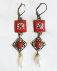 Antique Red Micro Mosaic Baroque Earrings