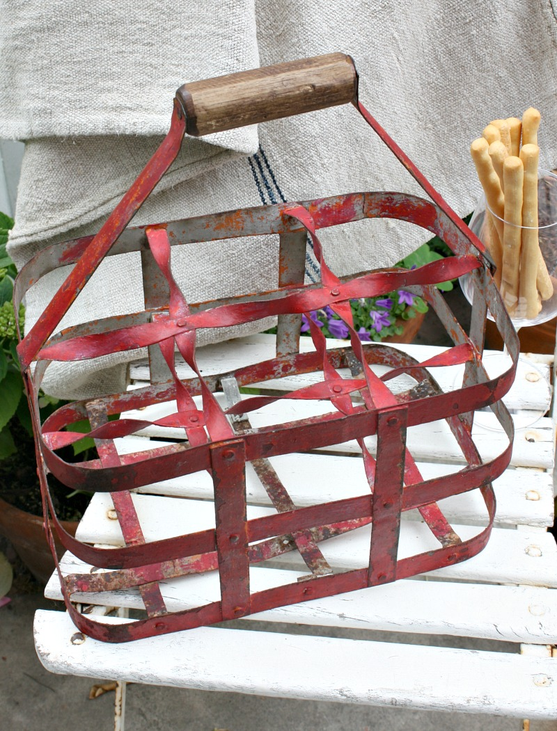 Antique French Red Painted Wine Carrier