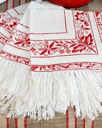 Antique Turkey Red and White Fringed Napkins Set of 4