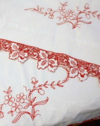 Antique Redwork Hand Embroidered Pillow Case Pair B