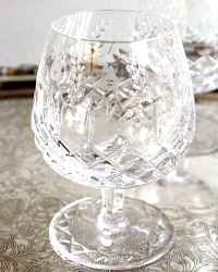 Vintage Cut Crystal Floral Brandy Glasses Set of 4