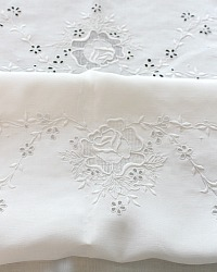 Antique White Hand Embroidered Linen Tablecloth Roses