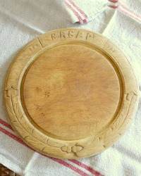 Antique Hand Carved Treen Round Bread Board with Acorns