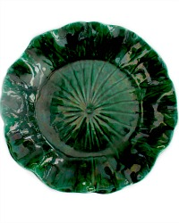 Antique Dark Green Luster Majolica Ruffled Plate
