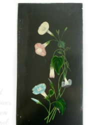 Antique Signed Shabby Floral Oil Painting on Metal Morning Glories