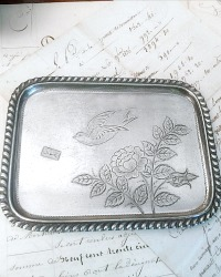 19th Century Silver Plate Calling Card Tray with Bird