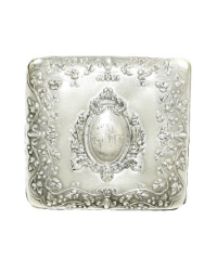 Antique French Art Nouveau Silver Plate Monogrammed Card Case