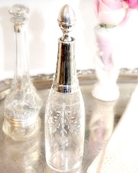 Antique French Tall Hand Etched Floral and Sterling Silver Perfume Bottle