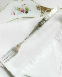 Antique Mother of Pearl Silver Twisted Handle Pickle Fork