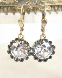 Gold French Fleur Parisian Cut Crystal Earrings