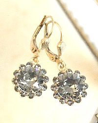 Gold French Fleur Parisian Diamant Cut Crystal Earrings