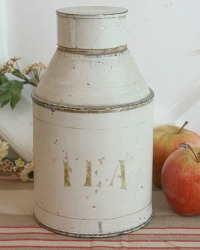 Antique Cream Metal Tole Tea Canister
