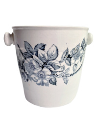 Antique Blue and White Floral Ironstone Bucket Wine Cooler