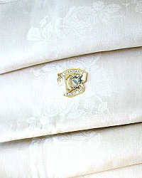 Unused Rose Damask Pure Linen Cream Table Cloth