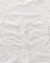 Antique Appenzell Embroidery White Table Tea Topper Monogram B