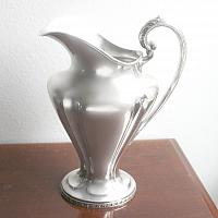 Elegant Art Nouveau Large Silver Plated Water Pitcher Monogrammed E