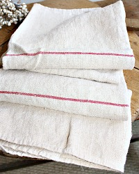 Antique French Country Hand Woven Linen Towel Rouge