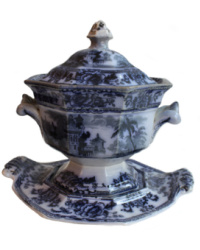 Early 19th Century Flow Blue Small Tureen with Undertray