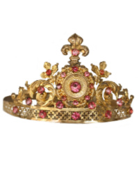 Antique French Tiara Crown Napoleon III Fleur de Lis Pink Rhinestones Virgin Santos Crown