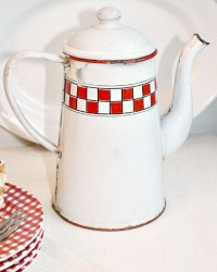 Antique French Red & White Checked Coffee Pot