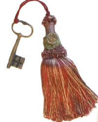 Vintage Buillon Trim Tassel with Bird Button and Antique Key Red