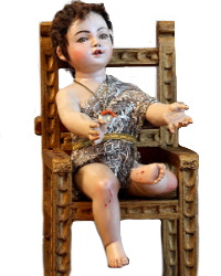 Large Seated Christ Child Santo with Hair and Gold Chair