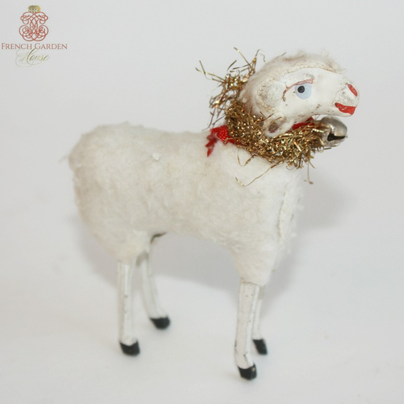 Antique Country Sheep with French Metallic Tinsel Big and Small Sisters