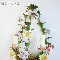 Antique Tole Floral Sconce with Hand Painted Wired Porcelain Flowers