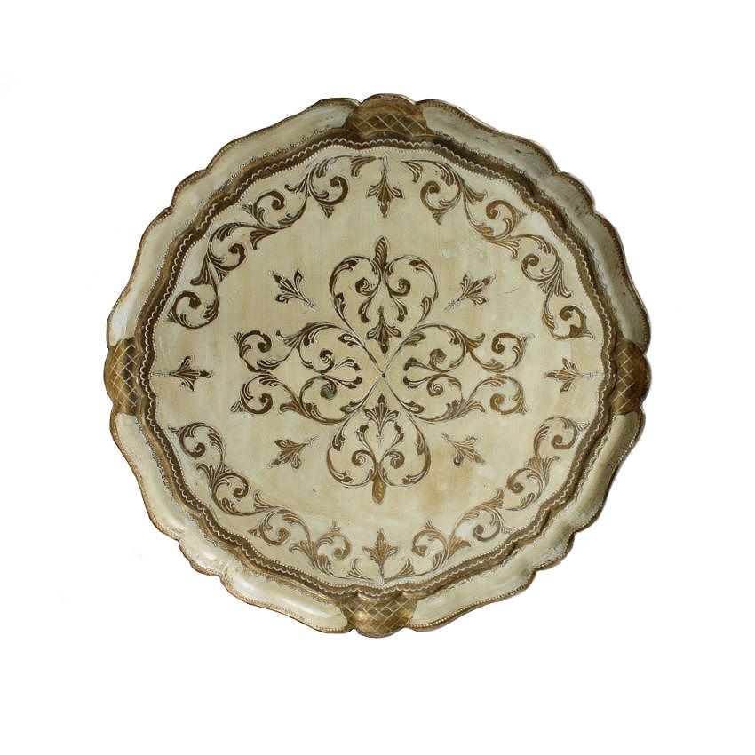Vintage Florentine Tray Cream White Round