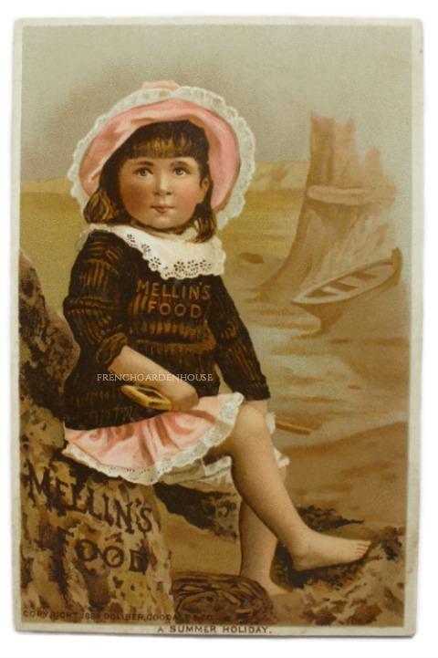 Antique Victorian Ocean Summer Girl Trade Card