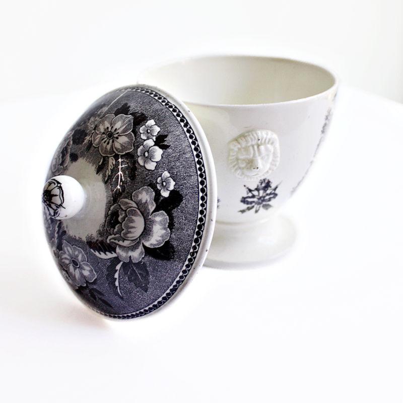 Antique Black Transferware Lidded Jam Pot with Lion Handles