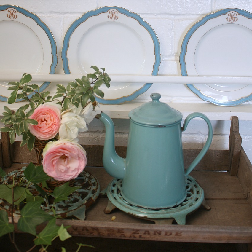 Antique French Aqua Enamelware Coffee Pot