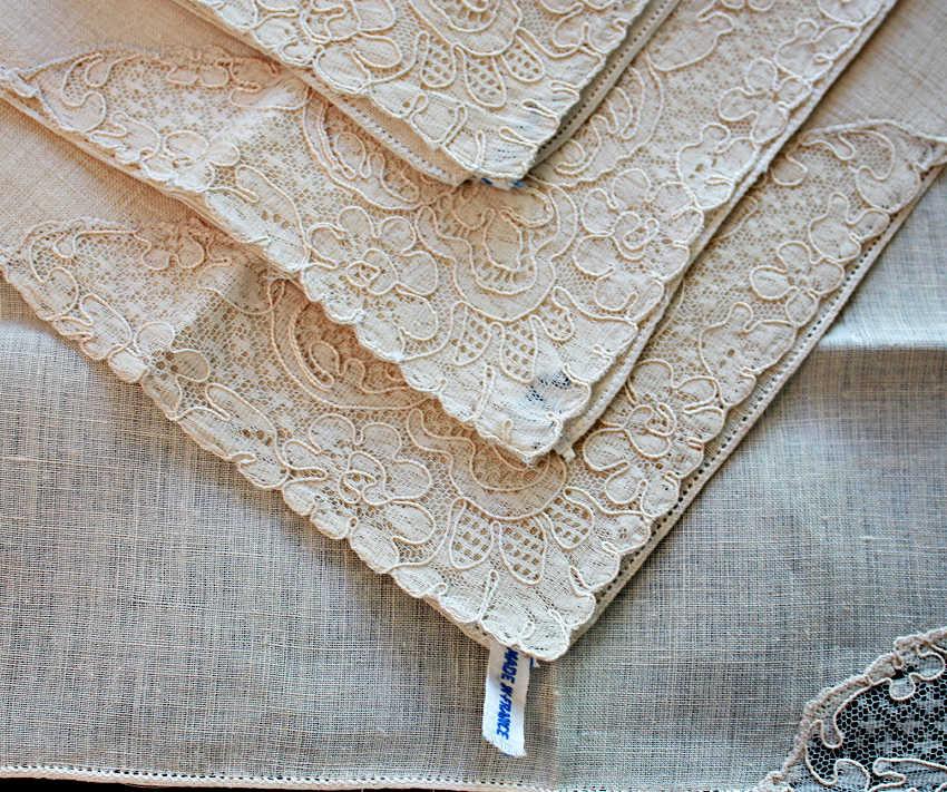 Exceptional Antique French Alencon Lace Napkins Set of 6