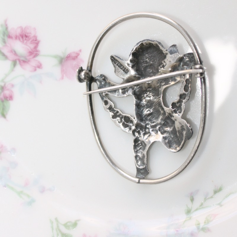 Sterling Silver Cherub Angel Brooch